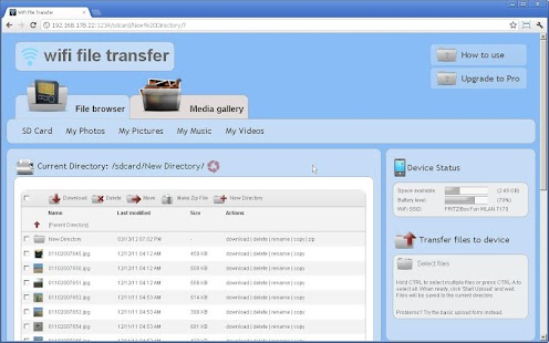 WiFi File Transfer Screenshot