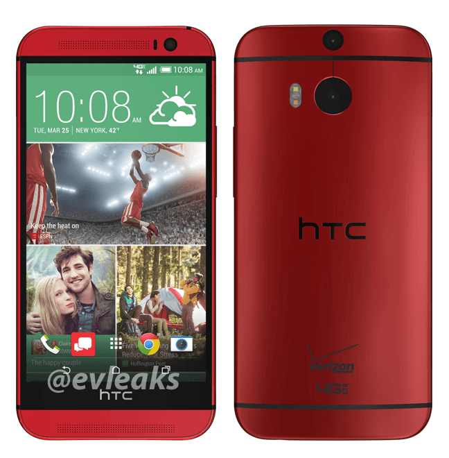 HTC One M8 red, source EVLeaks