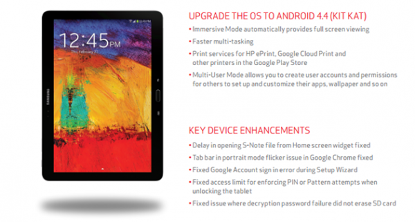 Galaxy Note updates, Source Verizon
