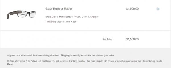 Google Glass, source Google Shop