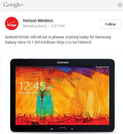 Galaxy Note updates, Source Verizon G +