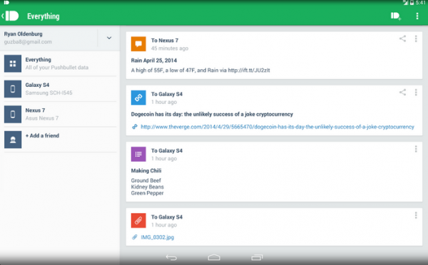 Pushbullet screenshot,s ource Google Play Store