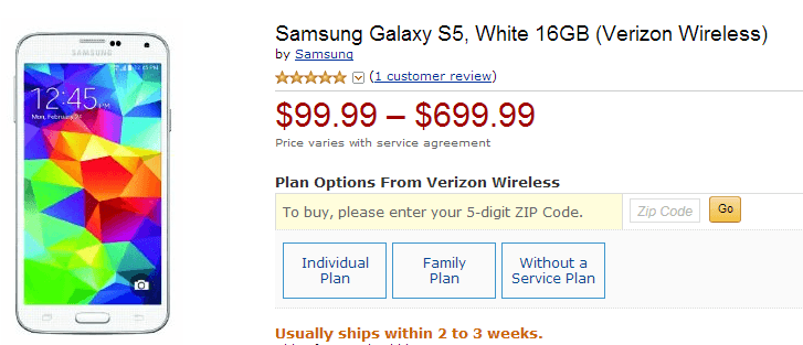 Galaxy s5 white, source Google store