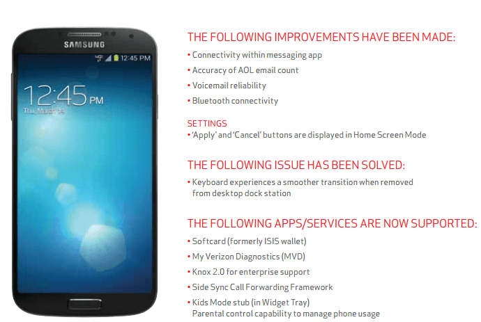 Verizon's Samsung Galaxy S4 gets OTA update including better