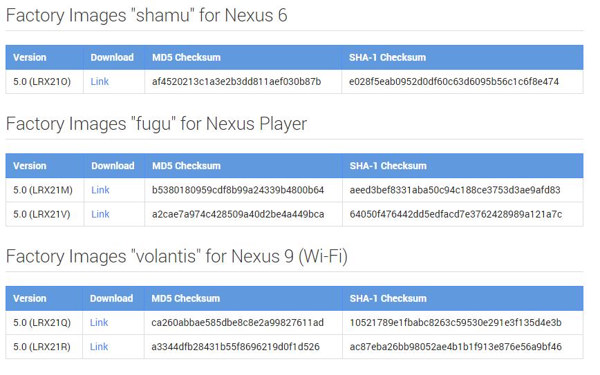 Nexus binaries