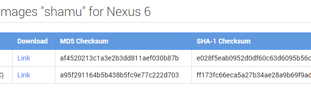 Nexus 4 Nexus 6 image files