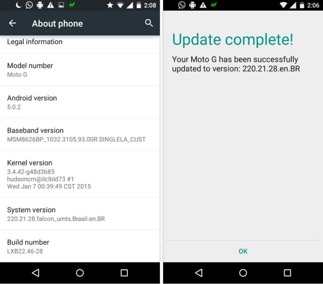 Moto G update