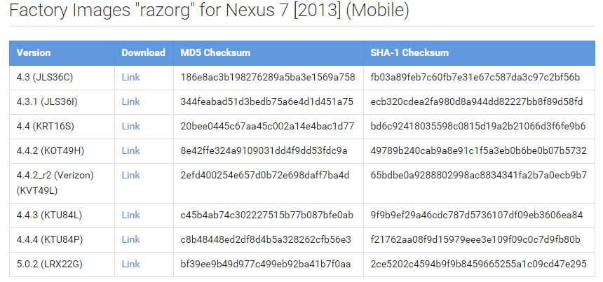 Nexus 7 sys image