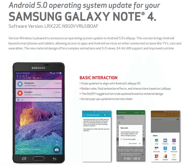 Samsung Note 4 update