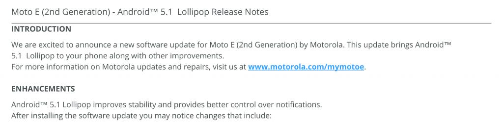 Moto E update