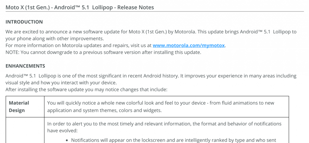 Moto X update