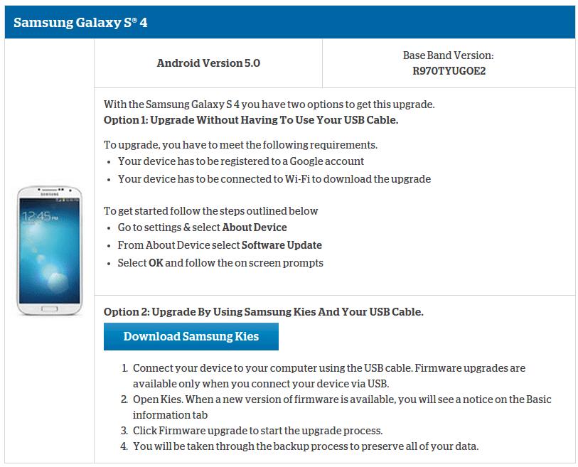 Samsung S4 US Cellular update