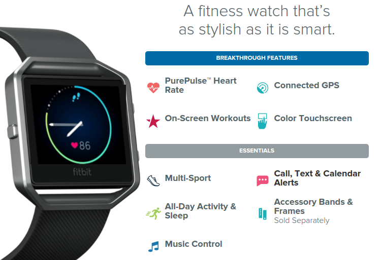 Fitbit Blaze features